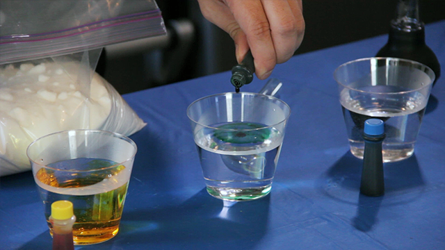 Color the water using common food coloring.