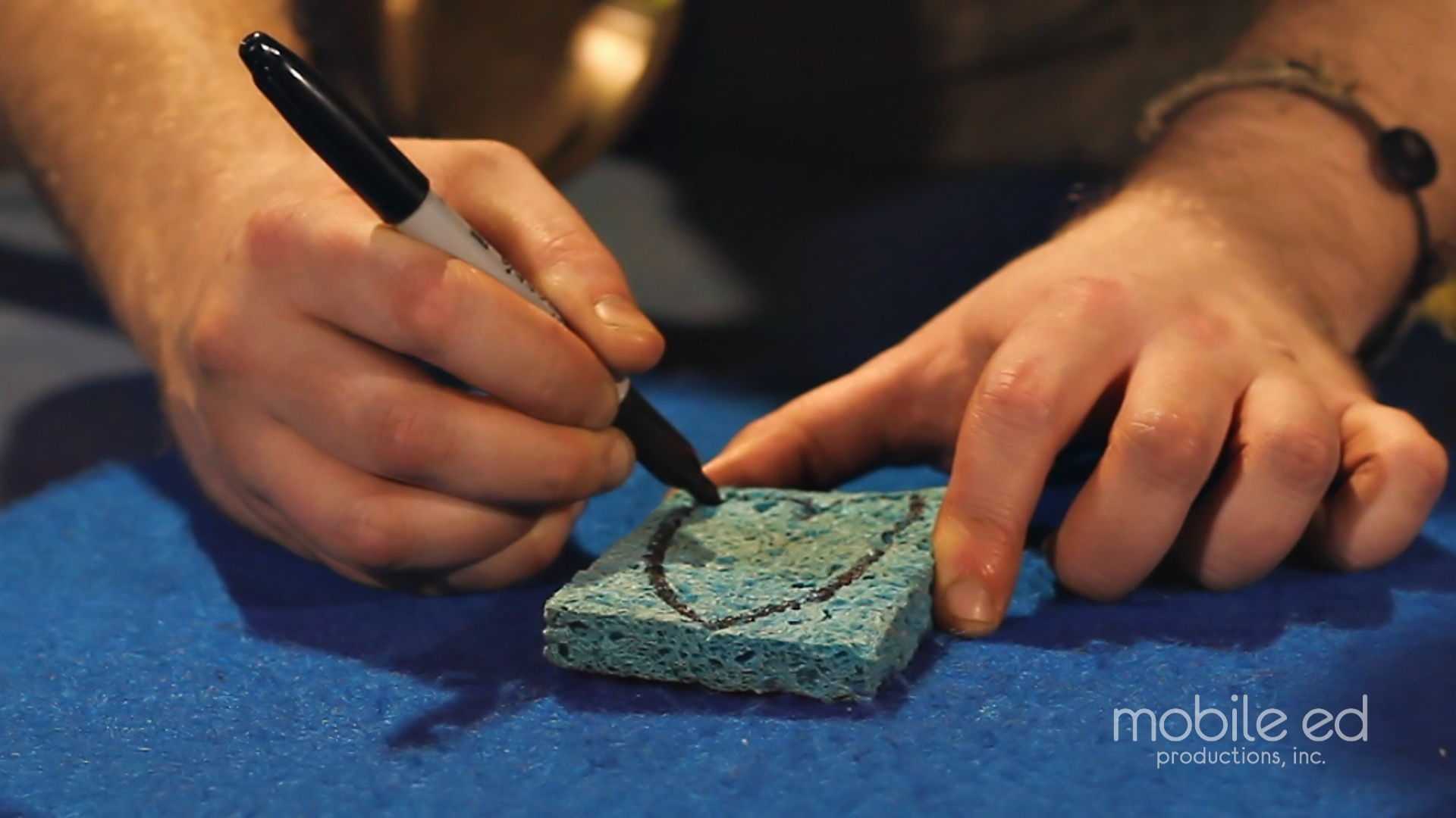 Draw the shape of your stamp on the sponge | Handy Dan the Junkyard Man | Mobile Ed Productions