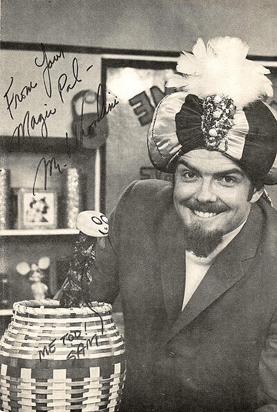 Larry Thompson as Mr. Whoodini on The Magic Shoppe with his sidekick Sam the Snake